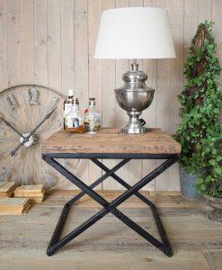 tavolino rettangolare base ferro e ripiano legno orchidea milano