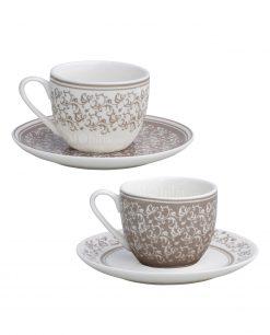 tazzine caffè con piattino decori bianchi e tortora set 2 pezzi linea riccioli di fata brandani