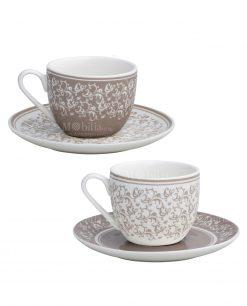 tazzine caffè con piattino decori tortora e bianchi set 2 pezzi linea riccioli di fata brandani