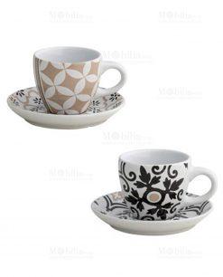 tazzine caffè set 2 pezzi con decoro geometrico linea alhambra brandani