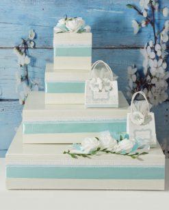 torta portabomboniera bianca e verde tiffany con merletto e bomboniera sacchettino rdm design linea forever