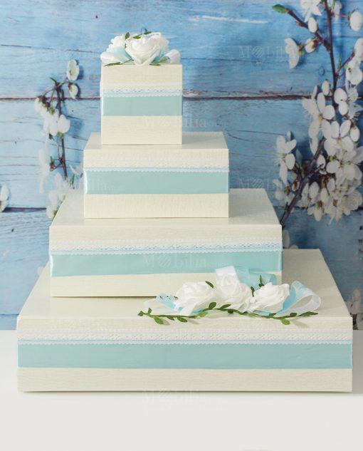 torta portabomboniere a piani panna e verde tiffany con rose bianche e perline