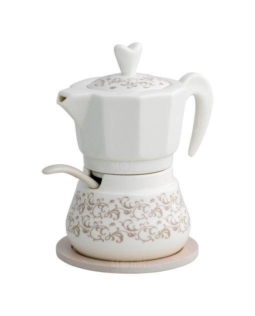 zuccheriera caffettiera con cucchiaino e base bamboo linea riccioli di fata brandani