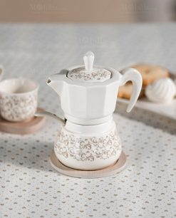 zuccheriera caffettiera con cucchiaino e base bamboo riccioli di fata brandani