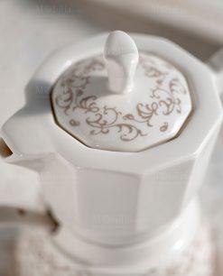 zuccheriera caffettiera porcellana con cucchiaino riccioli di fata brandani