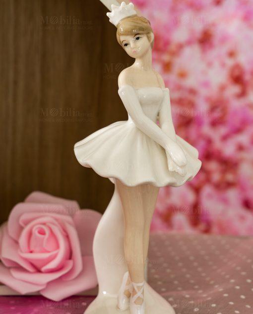 bambolina porcellana ballerina grande con tutù e coroncina bianca in piedi