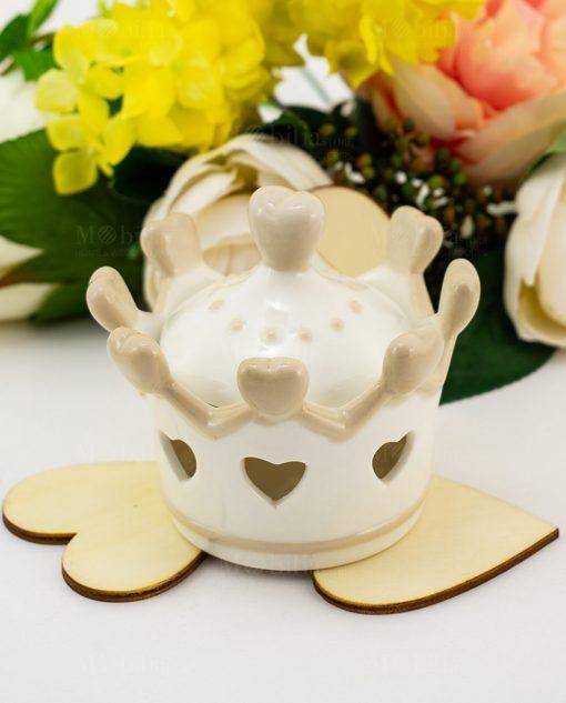barattolo corona con cuori porcellana