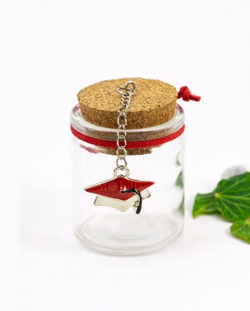 barattolo vetro tappo sughero con ciondolo tocco rosso e cordoncino