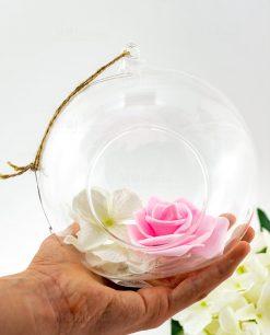 bolla vetro con fiori e cordoncino