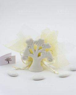 bomboniera albero della vita piccolo su sacchetto rete giallo