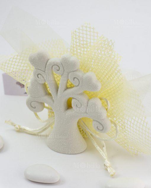 bomboniera albero della vita su sacchetto rete giallo