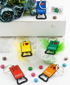 bomboniera apribottiglia portachiavi colori assortiti i love party