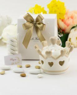 bomboniera barattolo corona con cuori porcellana