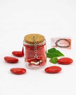 bomboniera barattolo vetro tappo sugehro con ciondolo tocco rosso