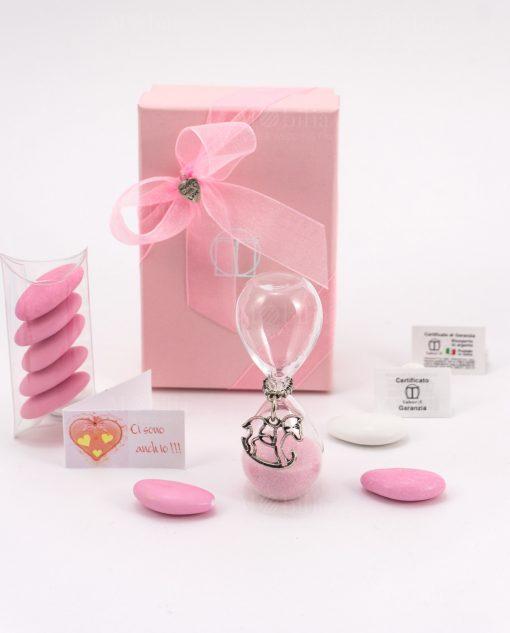 bomboniera bimba clessidra vetro sabbia rosa con ciondolo cavallucio microfusione placcato argento tabor
