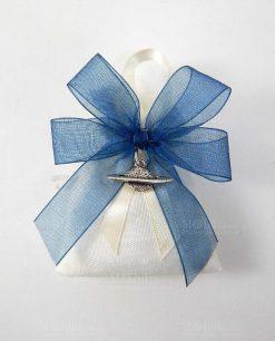 bomboniera ciondolo pianeta argento tabor su sacchetto biano a pois con nastro a 4 organza blu