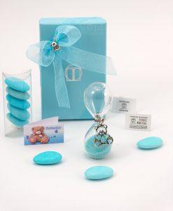 bomboniera clessidra vetro sabbia azzurra con ciondolo orsetto microfusione placcato argento tabor