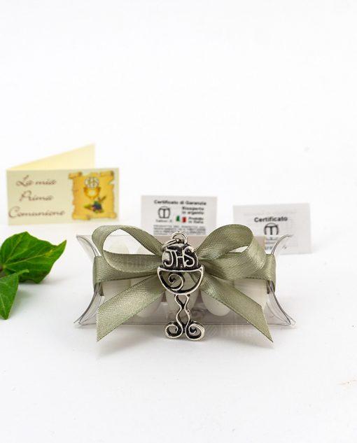 bomboniera confezionata ciondolo calice microfusione ricoperto argento tabor su tubicino