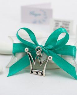 bomboniera confezionata ciondolo corona microfusione placcato argento tabor su tubicino
