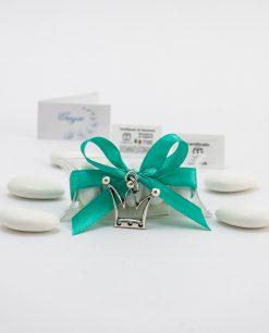 bomboniera confezionata ciondolo corona microfusione ricoperto argento tabor su tubicino