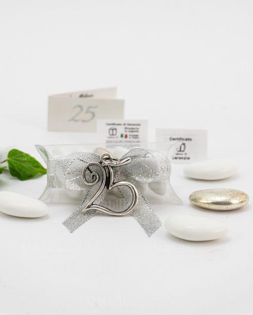 bomboniera confezionata ciondolo numero 25 microfusione ricoperto argento tabor su tubicino