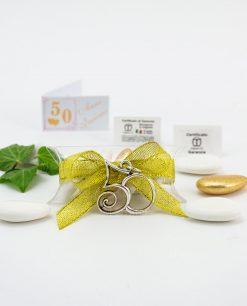 bomboniera confezionata ciondolo numero 50 microfusione ricoperto argento tabor su tubicino