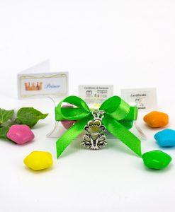 bomboniera confezionata ciondolo ranocchio microfusione ricoperto argento tabor su tubicino
