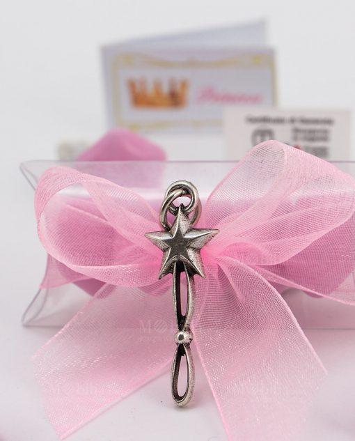 bomboniera confezionata ciondolo stella microfusione placcato argento tabor su tubicino
