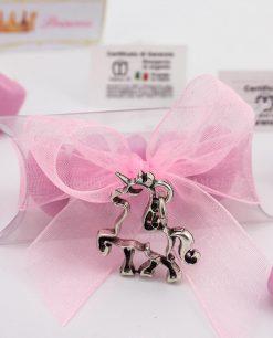 bomboniera confezionata ciondolo unicorno microfusione placcato argento tabor su tubicino