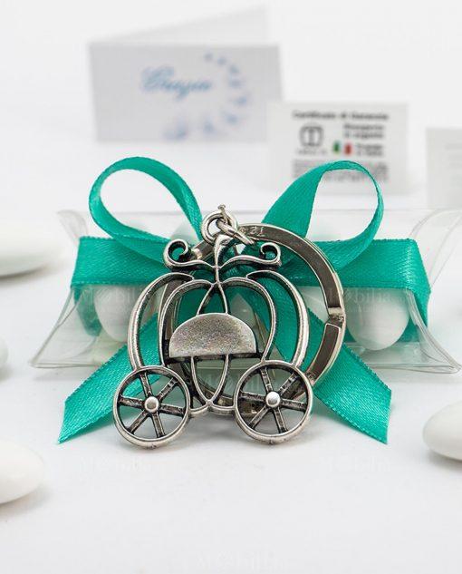 bomboniera confezionata portachiavi carrozza zucca microfusione placcato argento tabor su tubicino