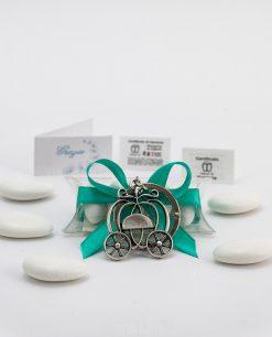 bomboniera confezionata portachiavi carrozza zucca microfusione ricoperto argento tabor su tubicino