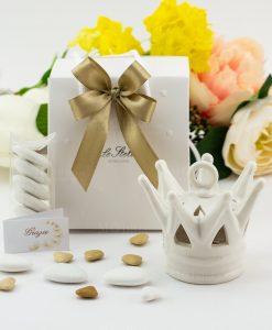 bomboniera corona porcellana led bianca