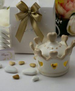 bomboniera lampada corona con cuoricini e coperchio led acceso