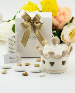 bomboniera lampada led corona con cuoricini e coperchio porcellana bianca