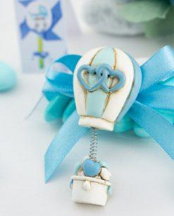 bomboniera magnete mongolfiera con cuori azzurra decori assortiti