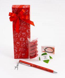 bomboniera penna rossa ciondolo compasso tabor personalizzata