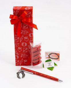 bomboniera penna rossa ciondolo corona alloro tabor personalizzata