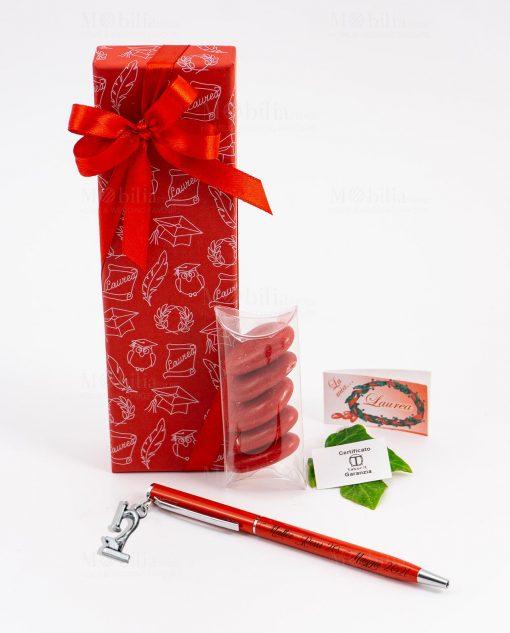 bomboniera penna rossa ciondolo microscopio tabor personalizzata