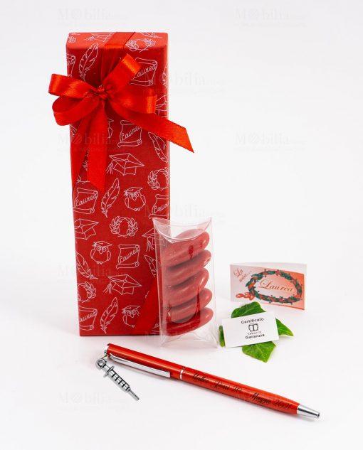 bomboniera penna rossa ciondolo siringa tabor personalizzata
