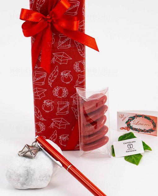 bomboniera penna rossa ciondolo tocco scatola garanzia tabor