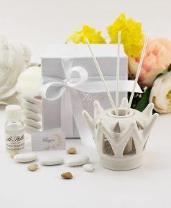 bomboniera profumatore corona porcellana con bastoncini e fragranza