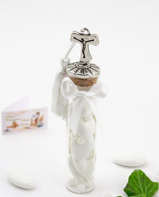 bomboniera provetta vetro con tappo sughero croce tao argento tabor e nappina bianca tabor