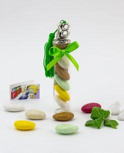 bomboniera provetta vetro nappina e numero dicioto tabor con fiocco e confetti colorati