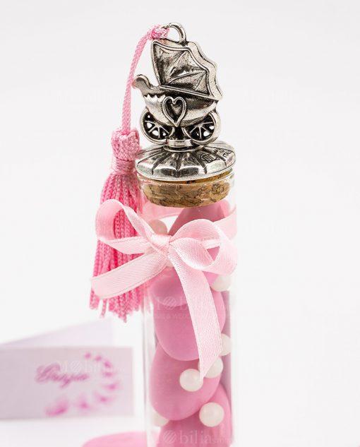 bomboniera provetta vetro tappo sughero con carrozzina argento e nappina rosa tabor
