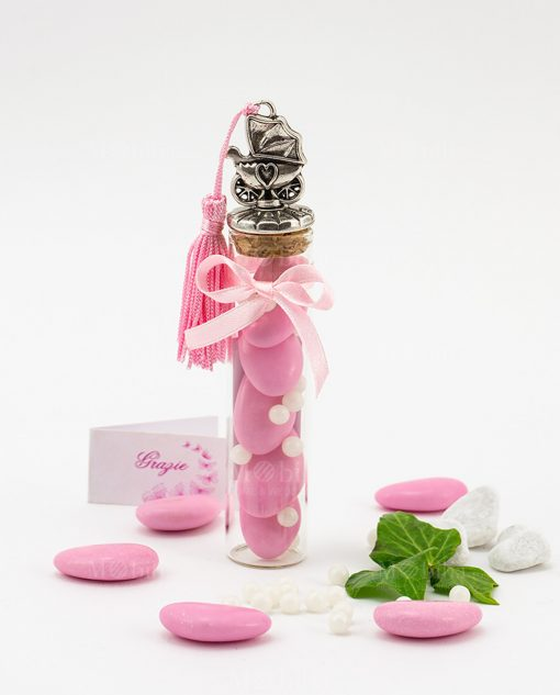bomboniera provetta vetro tappo sughero con carrozzina e nappina rosa confetti e praline tabor