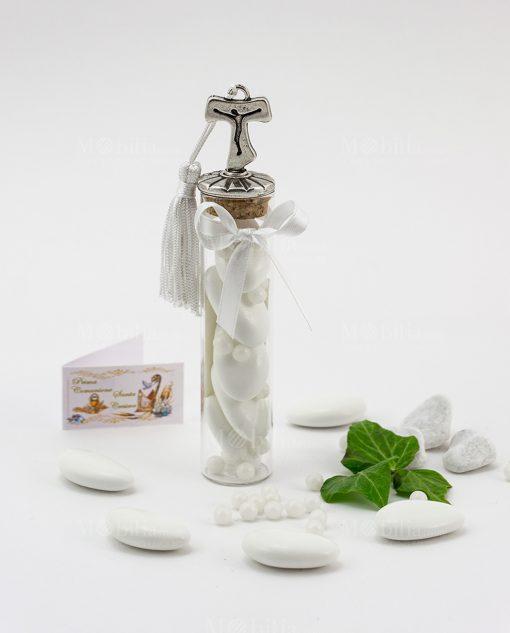 bomboniera provetta vetro tappo sughero con croce tao nappina bianca e fiocco tabor