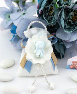 bomboniera sacchettino bianco portaconfetti con pendaglio orsetto azzurro