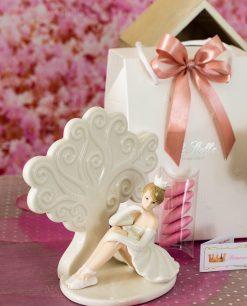 bomboniera sculturina grande porcellana albero della vita con ballerina tutù bianco