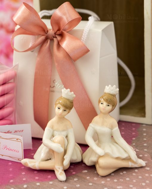 bomboniera sculturina porcellana piccola ballerina con tutù bianco e coroncina