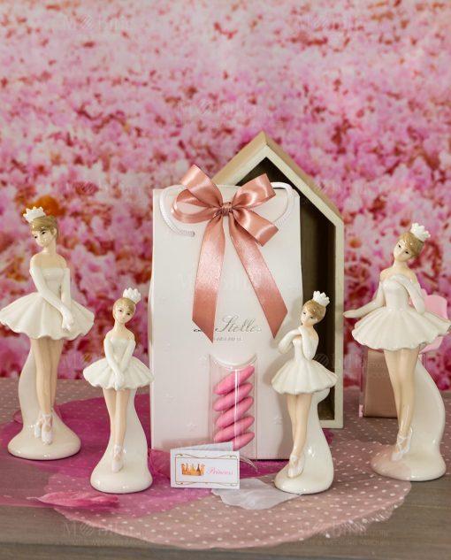 bomboniera sculturina varie misure e forme ballerina porcellana con tutù in piedi
